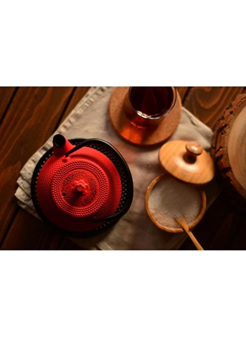 Bambum Taşev Linden - Sümbül 300 ml Kırmızı Döküm Çaydanlık Kırmızı